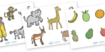 Handa's Surprise Story Cut Outs - Handa's Surprise, Eileen Browne, resources, Handa, Akeyo, mango, guava, Africa, avacado, passion fruit, monkey, African animals, story, story book, story book resources, story sequencing, story resources, cut out