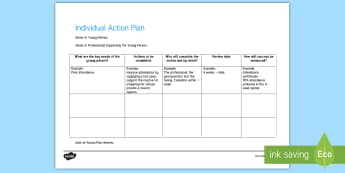 Individual Action Plan Young People & Families Case File Recording Template - Young People & Families Case File Recording, referral, chronology, contents page,buddy system, safeg