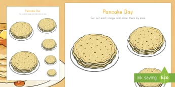 Pancake Day Ordering by Size Activity Sheet - Pancake Day, Size Ordering, pancakes, size, measure, measurement, measuring, non-standard units, shr