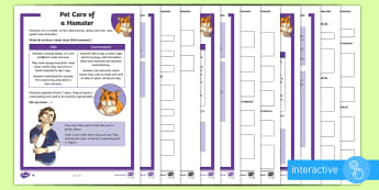 KS2 Pet Care of a Hamster Differentiated Comprehension Go Respond  Activity Sheets - KS2 National Pet Month (April 2017), hamster, pet, pets, looking after hamsters, year 3, year 4, yea