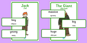 Jack and the Beanstalk Character Describing Words Matching Activity Polish Translation - polish, jack and the beanstalk, character description