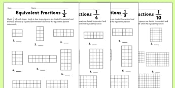 Equivalent Fractions Worksheet - equivalent fractions, worksheet