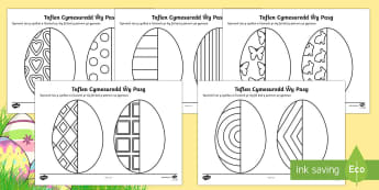 Cymesuredd Wŷau Pasg - welsh, cymraeg, Pasg, cymesuredd, mathemateg, wŷ Pasg, symmetry, sheets, symmetry sheets, easter egg, sysmmetry activity, easter egg symmetry, easter symmetry, reflection, creating symmetry, numeracy, math, shapes,