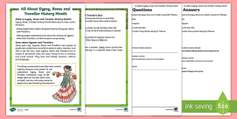 KS1 Gypsy, Roma and Traveller History Month Differentiated Reading Comprehension Activity - KS1 GRTHM, Gypsy, Roma, Traveller History Month, gypsies, travellers, year 1, year 2, yr 1, yr 2, re