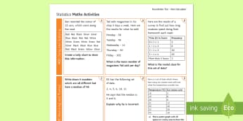 Foundation: Statistics (Non-Calculator) Revision Activity Mat - Using and Applying, Reasoning and Fluency, Problem Solving, Secondary - Maths - Exams, KS4, Statisti