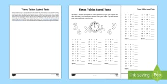 Year 2 Maths Times Tables Speed Tests Homework Activity Sheet - year 2, maths, homework, times tables, multiplication, division, rapid recall, worksheet