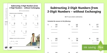 Year 3 Subtracting 2-Digit Numbers from 2-Digit Numbers in a Column without Exchanging Activity Sheet - Year 3 Subtracting 2-Digit Numbers from 2-Digit Numbers in a Column without Exchanging Activity Shee