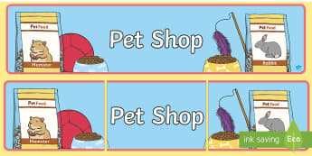 Pet Shop Display Banner - Pet shop display, banner, poster, cat, dog, rabbit, mouse, guinea pig, rat, hamster, gerbil, horse, puppy, kitten, snake, chinchilla, snail, lizard, budgie