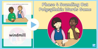 Phase 4 Sounding Out Polysyllabic Words Game PowerPoint - Phonics Words and Pictures Game Phase 4 - drawing, phonics, phase 4, game, read, write, phinics, pho
