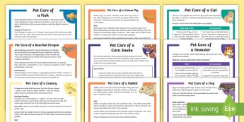 KS2 Pet Care Reading Comprehensions Pack - KS2 National Pet Month (April 2017), pack