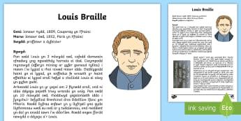 Gwybodaeth am Louis Braille Ffeil Ffeithiau - WL Social Media Requests in Welsh KS2 (HIGH PRIORITY) Louis Braille, gwybodaeth, hanes, dall, darlle