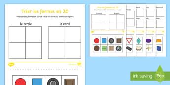 Feuille d'activités : Trier les formes en 2D - trier les formes en 2D, formes en 2D, formes, figures géométriques, figures planes, feuille d'act