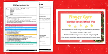 EYFS Sparkly Foam Christmas Tree Finger Gym Plan and Prompt Card Pack - eyfs, sparkly foam, christmas tree