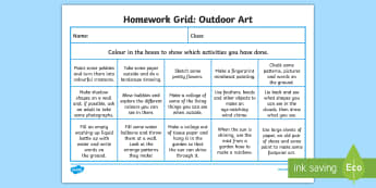 Outdoor Art Homework Grid - Homework, home learning, active homework, outdoor learning, personalisation and choice, choosing, ac