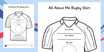 All About Me Rugby Shirt Worksheet - rugby shirt, all about me