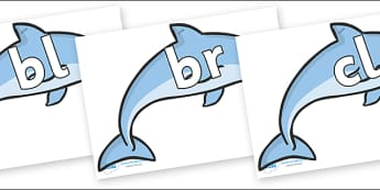 Initial Letter Blends on Dolphins - Initial Letters, initial letter, letter blend, letter blends, consonant, consonants, digraph, trigraph, literacy, alphabet, letters, foundation stage literacy