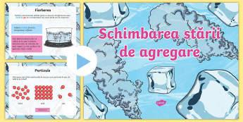 Schimbarea stării de agregare PowerPoint - topire, solidificare, condensare, stări de agregare, științe, prezentări, activități, material