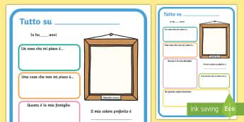 Tutto su di Me Poster - tutto, su, di, me, poster, classe, presentazione, italiano, italian, materiale, scolastico