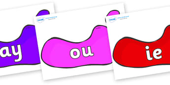 Phase 5 Phonemes on Footprints - Phonemes, phoneme, Phase 5, Phase five, Foundation, Literacy, Letters and Sounds, DfES, display