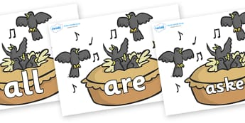 Tricky Words on Blackbirds in a Pie - Tricky words, DfES Letters and Sounds, Letters and sounds, display, words