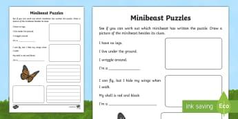 Minibeast Puzzles Writing Activity Sheet - World Around Us KS2 - Northern Ireland, minibeasts, mini beasts, organisms, world around us, creatur