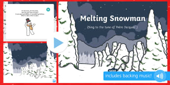 Melting Snowman Song PowerPoint - The Snowman, Raymond Briggs, Christmas, winter, PowerPoint, singing, song time