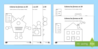 Color by 2D Shapes Activity Sheet Spanish - Spanish, Vocabulary, KS2, shapes, 2D, color, by, activity, sheet, worksheet. dibujo, worksheet.