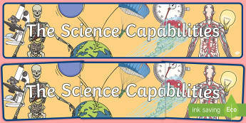The Science Capabilities Display Banner - New Zealand Science Capabilities, science, capabilities, primary school, observations, evidence, mak