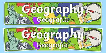 Geography Display Banner Polish Translation - polish, geography, geo, display, banner, sign, poster, earth, land, atlas, direction, compass, mountain, landscape, rock, rivers, sea