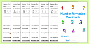 Number Formation Workbook (0-20) - Handwriting, number formation, number writing practice, workbook, foundation, numbers, foundation stage numeracy, writing, learning to write