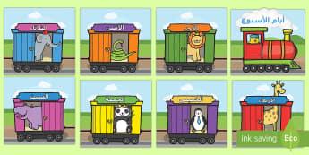 أيام الأسبوع على قطار - ايام الأسبوع، ملصقات حائط، عربي، الأيام، الأسبوع، ايا