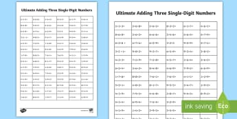 KS1 Ultimate Adding Three Single-Digit Numbers Activity Sheet - Home Education Maths Resources, adding mentally, making 1, Worksheet, one digit numbers, adding thre