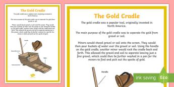 The Gold Cradle Display Poster - Australian colony, ACHASSK108, gold rush, Australian Gold Rush,  ACHASSK109,