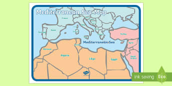 The Mediterranean Sea Map - sea, seas, world, globe, earth, countries, geography