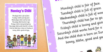 Mondays Child Nursery Rhyme Poster - rhymes, display, poems