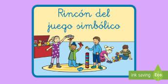 Póster DIN A4: El rincón del juego simbólico - rincones, rincón, decoración de la clase, imaginación, jugar, exponer, exposición, póster, jueg