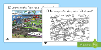 Transport 'I Spy' Scene Activity - Spanish, KS2, transport, I spy, scene, activity