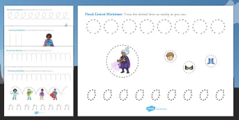 Superhero Themed Pencil Control Worksheets - superheroes, pencil
