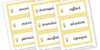 light vocabulary - KS2 Science, Light and Sound, Visual Aids, Resources, Light, Sound