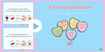 Five Pretty Valentines Song PowerPoint - EYFS, Early Years, Valentine's Day, love, caring, St Valentine, February 14th.