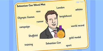Sebastian Coe Word Mat - sebastian coe, word mat, topic words, topic mat, themed word mat, writing aid, mat of words, key words, keywords, keyword mat