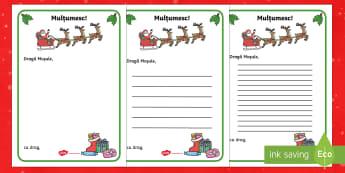 Scrisoare de mulțumire pentru Moș Crăciun - multumesc, craciun, crăciun, română, fișe , materiale, sărbători,Romanian