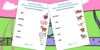 Word and Picture Matching Worksheet to Support Teaching on Farmyard Hullabaloo - farm, matching