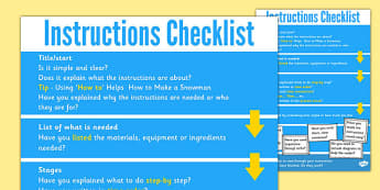 Instruction Check List - instructions poster, how to write instructions, instructions, formal writing, instructions checklist, writing instructions, formal