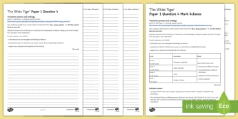 AQA Eng Lang P1 Q4 'The White Tiger' Mini Exam Pack - AQA GCSE Specific Question Resources, structure, language, evaluation, Question 4, revision, The Whi