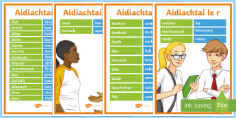Alphabetical Adjectives with Translations Display Posters Gaelige