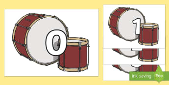 Numbers 0-31 on Drums - 0-31, foundation stage numeracy, Number recognition, Number flashcards, counting, number frieze, Display numbers, number posters