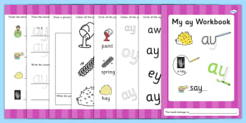 Phase 5 ay Grapheme Workbook - graphemes, phase five, phases, literacy, phonics, workbook, blends
