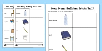 How Many Building BricksTall Worksheet - counting, measure, height