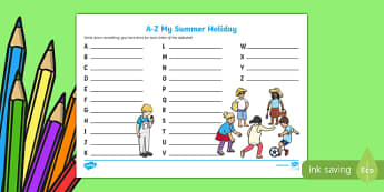 A-Z My Summer Holiday Writing Frame - a-z, summer, my summer holiday, writing frame, holiday